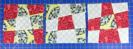 Wonky 9 Patch Tutorial featured by top US quilting blog and shop, Seams Like a Dream Quilt Designs: 3-blocks-sewn