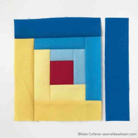 making a yellow and blue log cabin block