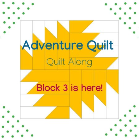 Adventure Quilt Along Project block 3 featured by top US quilting blog and shop, Seams Like a Dream Quilt Designs