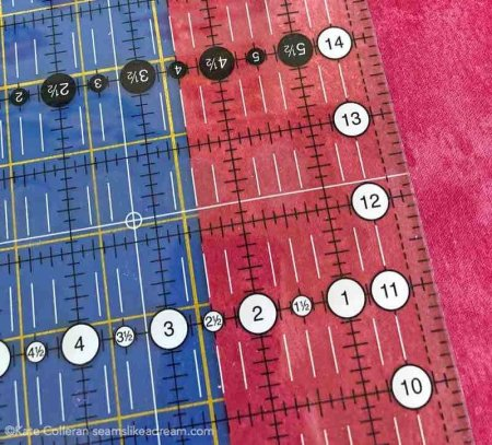 Tips for Cutting Fabric featured by top US quilting and sewing blog and shop, Seams Like a Dream Quilt Designs: shows how to line up your fabric with your ruler.