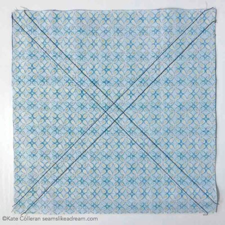 Easy Half Square Triangle Units tutorial featured by top US quilting blog and shop, Seams Like a Dream Quilt Designs: Cut along the diagonal  twice and you will have 8 HST units.