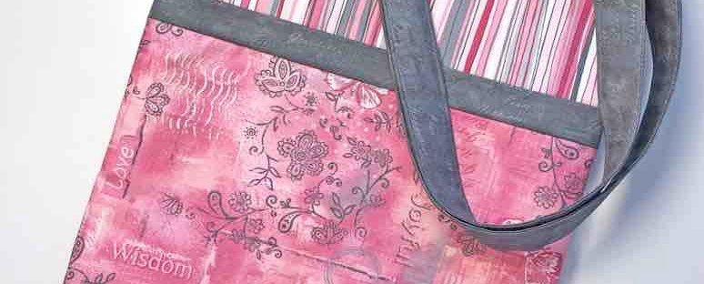 Breast Cancer Series: Quilted Tote Bag with Soulful Shades of Pink Fabric featured by top US quilting blog Seams Like a Dream Quilt Designs: shares a tutorial on making a quilted tote bag.
