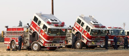 two fire engines tipped up at Tubbs Fire in Sonoma County, California