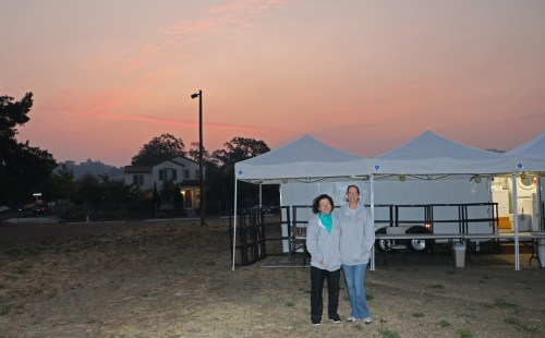 Teresa Sigmon, Rhonda Shotts at fire camp at Tubbs Fire, Sonoma County, California