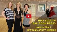 Sherri Hansen, dressmaker, sexy black Smooth dance dress, ballroom dance costume dress