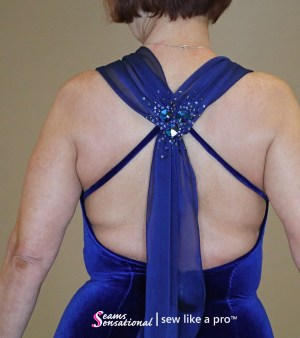 Stretch velvet paired with an iridescent chiffon is beautiful for Dancesport, Country and Skater dresses