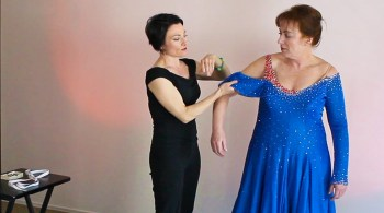 what to look for when buying a used Dancesport ballgown needs a smaller skirt for today's American Style Smooth trends, Leslie Peterson