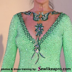 rhinestoned necklace is a strong focal point on the Dancesport ballgown
