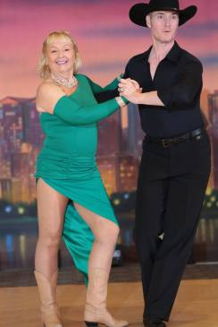 How to Choose Ballroom Shoes, Country & Figure Skating Boots, Patsy Pirie dancing with professional Country instructor, Eric Zimmer