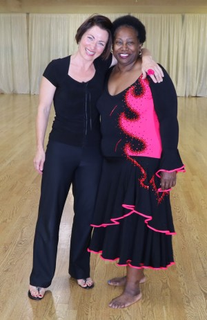 Betty and Teresa Sigmon at U Can Dance Studio in St. Louis, Missouri, lengthen leotard for a better bust fit