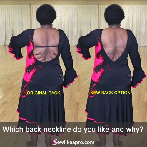 open back Latin dance dress, without criss cross straps for bust support
