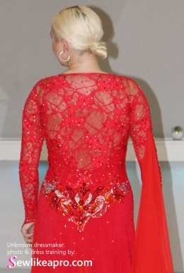 Pretty, Practical Smooth gown with rhinestoned focal point and mesh sleeves, stretch lace