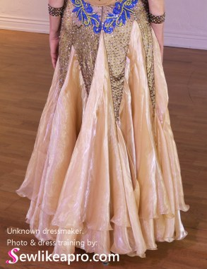 iridescent chiffon, georgette, organza ballgown skirt, star-point dance skirt, Standard ballroom dress, smooth dance dress, rhinestones, Dancesport dress, ballroom dancing dress