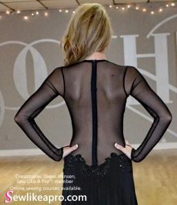 smooth dance dress, full back zipper, mesh