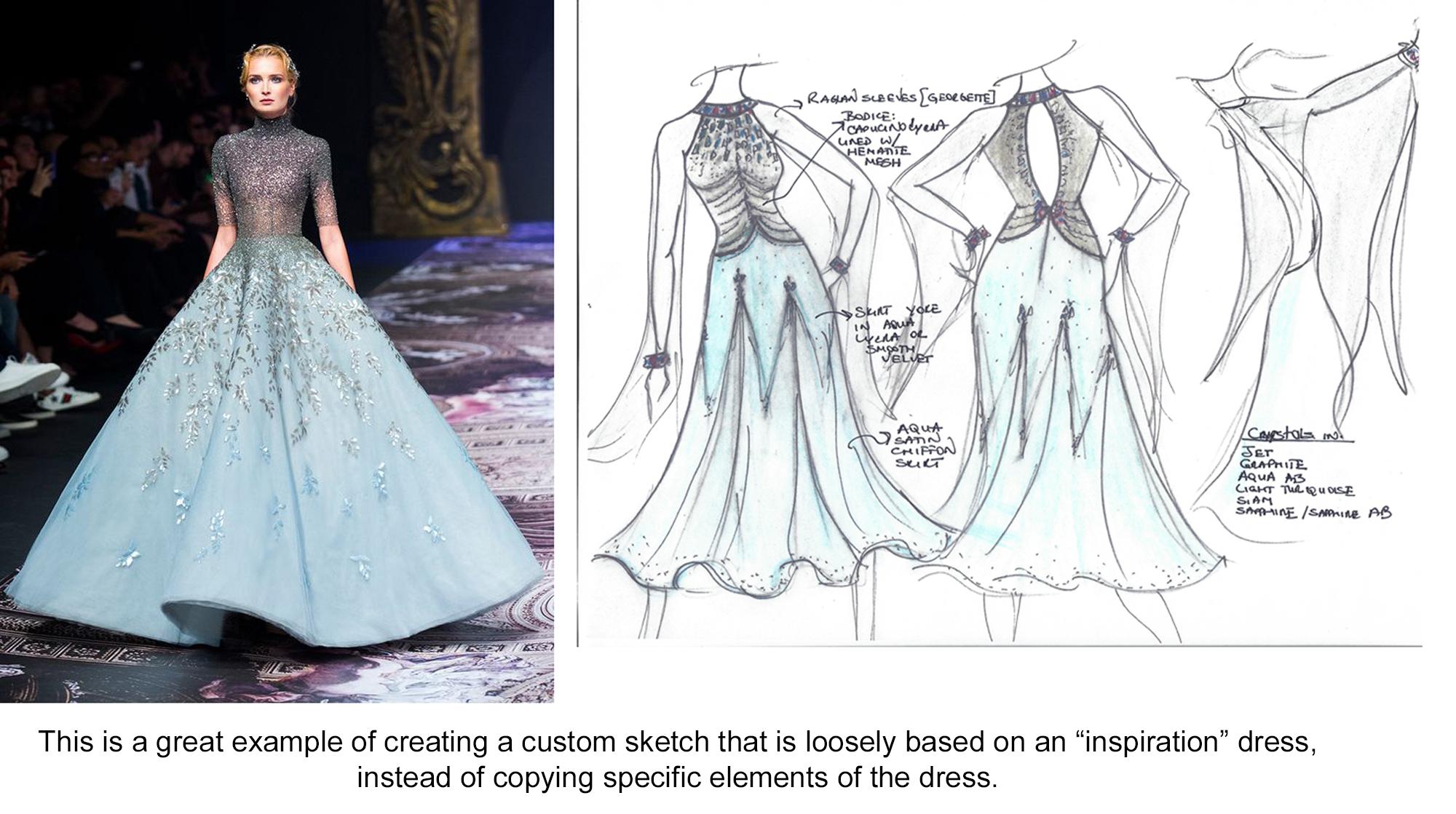 Ballgown Design Challenge dress design women compete Dancesport ballroom Country dance evening gown Standard ballgown sketch