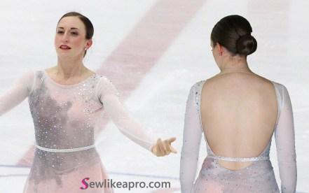open back ice skating costume, 2019 adult nationals, front back necklines