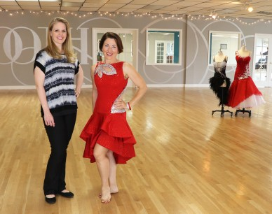 Teresa Sigmon wears Latin dance dress by Sherri Hansen with mesh cutouts, ruffle skirt, 3 ballroom dance dresses, Booth Dancesport Ballroom Denver