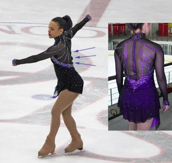 seamless mesh sleeves Monica figure skating dress Brad Griffies bad back zipper