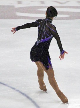 seamless mesh sleeves Monica ice skater costume Brad Griffies back view action