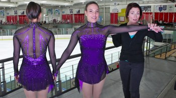 seamless mesh sleeves Monica ice skater costume Brad Griffies