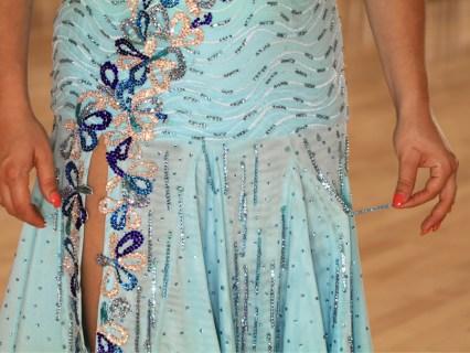 imitation beaded fringe, rhinestoned ribbon, pale blue Latin dance skirt