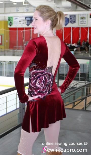 invisible back zipper velvet red figure skating dress