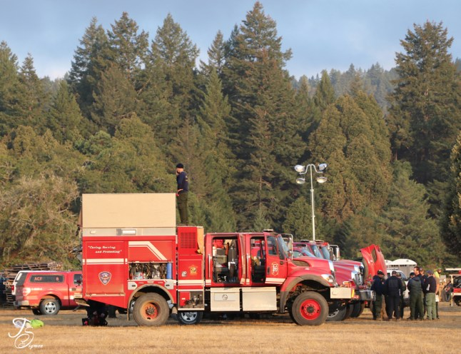fire engines preparing for 24 hour day August Comple 2020 California Eel River