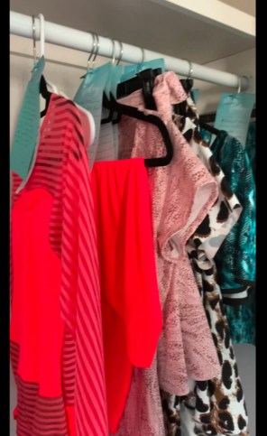 Carol's closet wiith ballroom dance practice wear