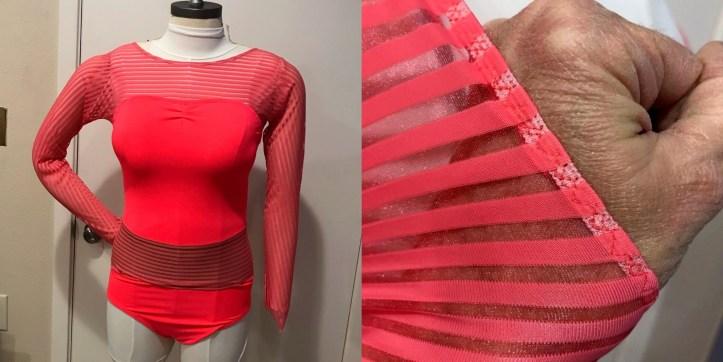 practice dancewear leotard on dress form and closeup of elastic