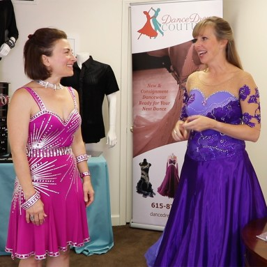 Duffy Betterton models one of Dance Dress Couture's consignment dresses made by one of my Sew Like A Pro™ members.
