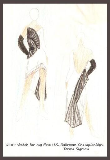 Teresa Sigmon ballroom dance dress sketch fortuny pleating