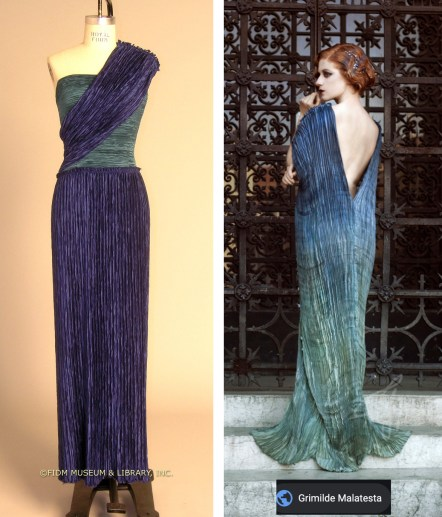 two fortuny pleating evening gowns, FIDM Museum & Library, Inc, Grimilide Malatesta