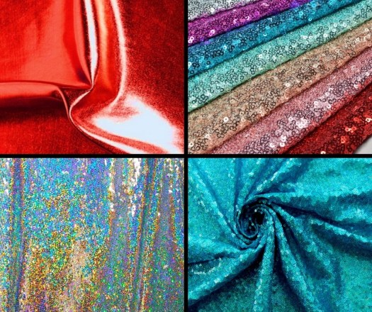 liquid foil and holographic sequin fabric examples of shiny fabrics