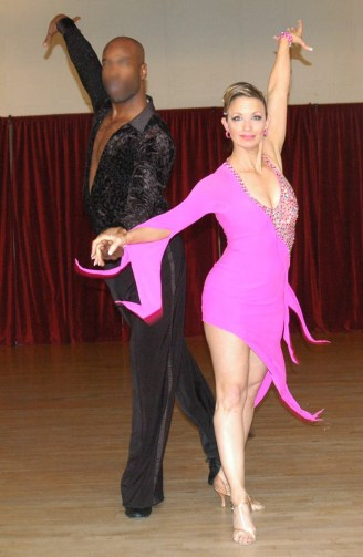 christina musser fuchsia latin action shot at Spotlight Ballroom, West Sacramento California