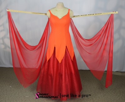 double set of red chiffon Standard floats for a ballgown