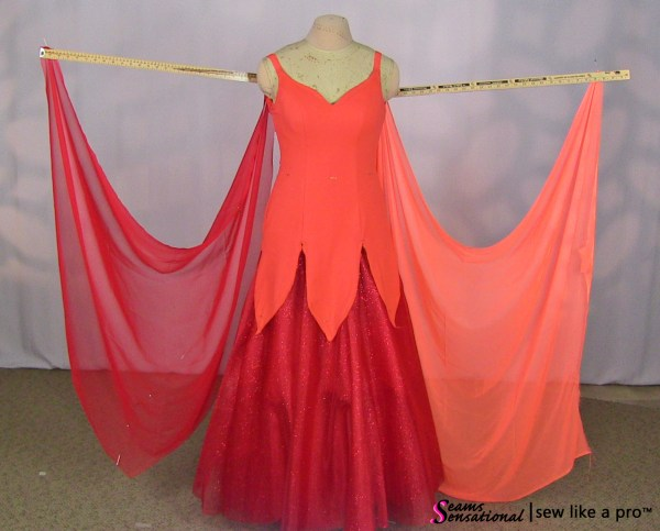 red and orange Standard floats for a competition style ballgown