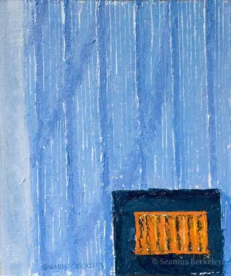 "Orange in Blue, 12"" x 12"", oil on canvas"