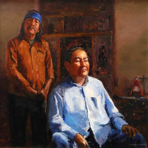 Portrait of Cat and Gerald, Picuris Pueblo, oil on canvas