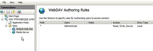 IIS WebDAV Authoring rule