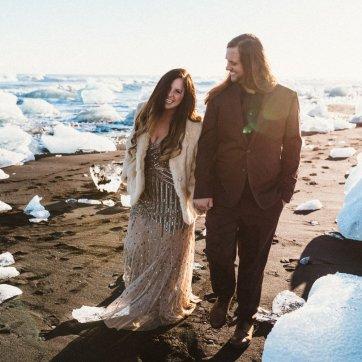 Bride and groom at Jokulsarlon wedding in Iceland