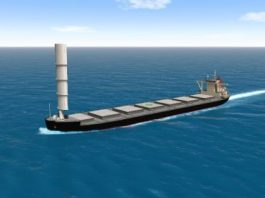 MOL CG simulation of coal carrier underway with Wind Challenger