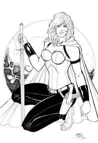 Scarlet Huntress Print, Lineart by Sean Forney