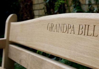 Lettering on garden bench