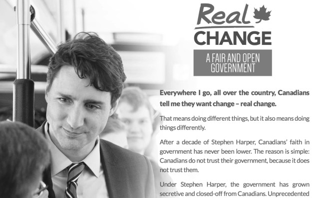 "Prime Minister Justin Trudeau is promising a ""fair and open government."" But that openness could a lot like what a NDP MP proposed half-a-century ago. (Graphic by Liberal Party of Canada)"