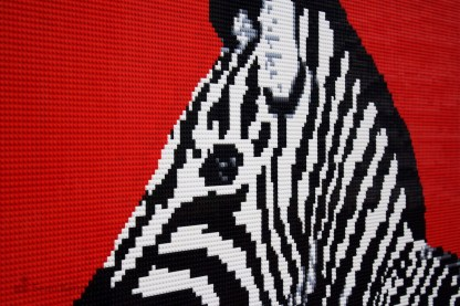 lego zebra mural mosaic artwork