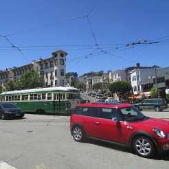 PCC Streetcar crossing Noe at Market