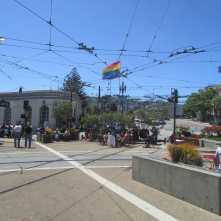 The start of the F Line at Jane Warner Plaza, Market and Castro