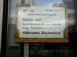 Destination sign on the Berlin-Warsaw Express
