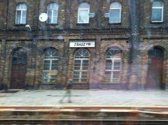 Pre-1945 German railway station on the way to Poznan