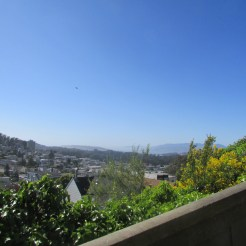 View of the Golden Gate and a sliver of the Pacific Ocean from Ashbury Heights